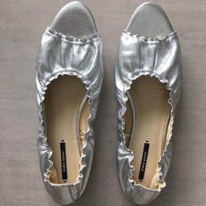 Zara Silver Ballerinas